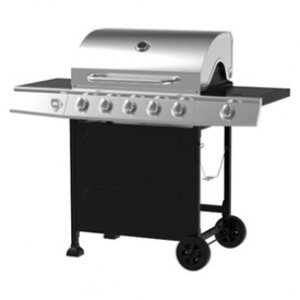 5-Burner Gas Grill, Stainless Steel/Black