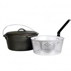 Cajun Cookware Dutch Ovens With Fry Basket 9 Quart Seasoned Cast Iron Dutch Oven