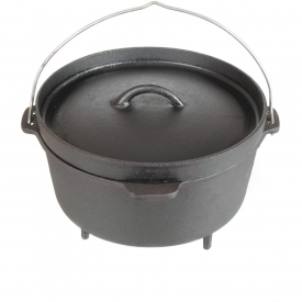 Cajun Cookware Pots With Legs 12 Quart Seasoned Cast Iron Camp Pot