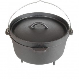 Cajun Cookware Pots With Legs 4.5 Quart Seasoned Cast Iron Camp Pot