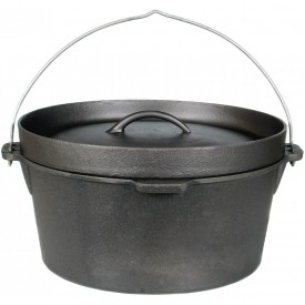 Cajun Cookware Pots Without Legs 4.5 Quart Seasoned Cast Iron Camp Pot