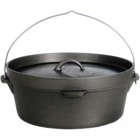 Cajun Cookware Pots Without Legs 6 Quart Seasoned Cast Iron Camp Pot