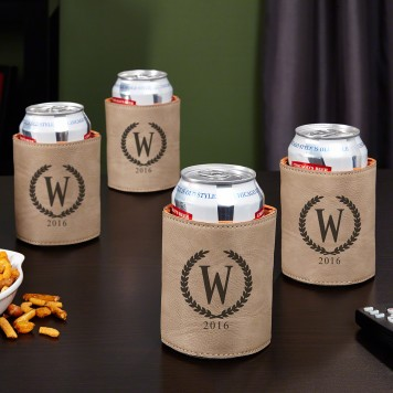 Statesman Personalized Set of 4 Can Coolers, Sand